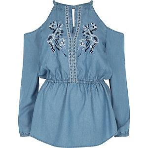 Blue denim embroidered cold shoulder top