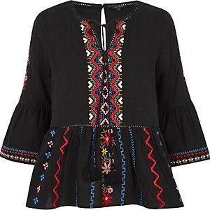 Black embroidered bell sleeve smock top