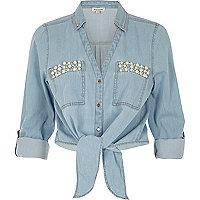 Blue denim pearl pocket tie front shirt