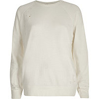 Cream distressed sweatshirt