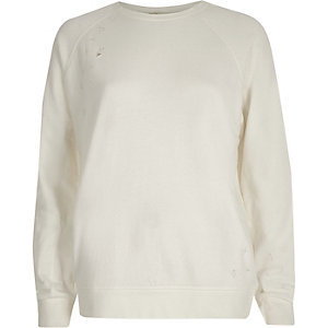 Crème distressed sweatshirt