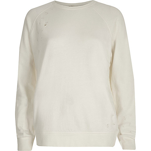Cream distressed sweatshirt