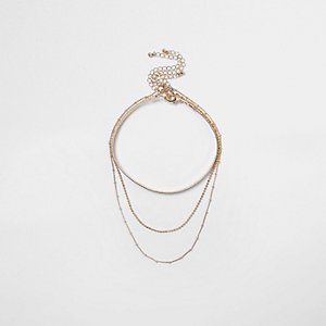 Gold tone choker layer necklace