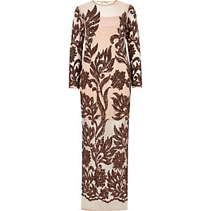 Beige long sleeve embellished maxi dress