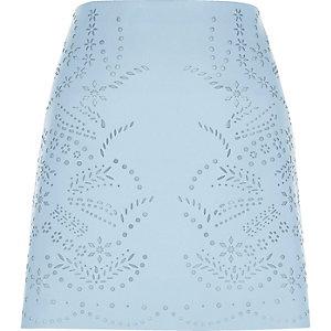 Light blue laser cut faux leather mini skirt