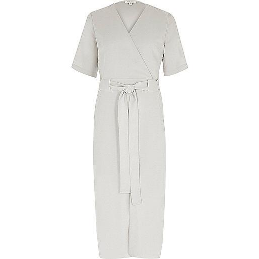 Light grey wrap shirt midi dress