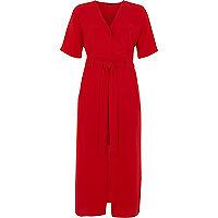 Red wrap short sleeve midi dress