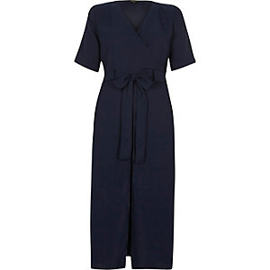 Navy blue wrap shirt midi dress