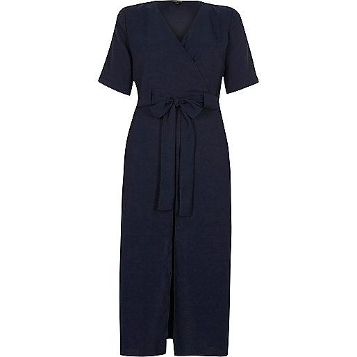 Navy blue wrap shirt midi dress