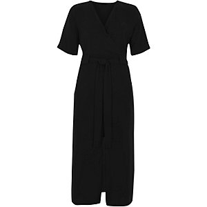Black wrap shirt midi dress