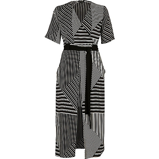 Black striped tie waist midi dress