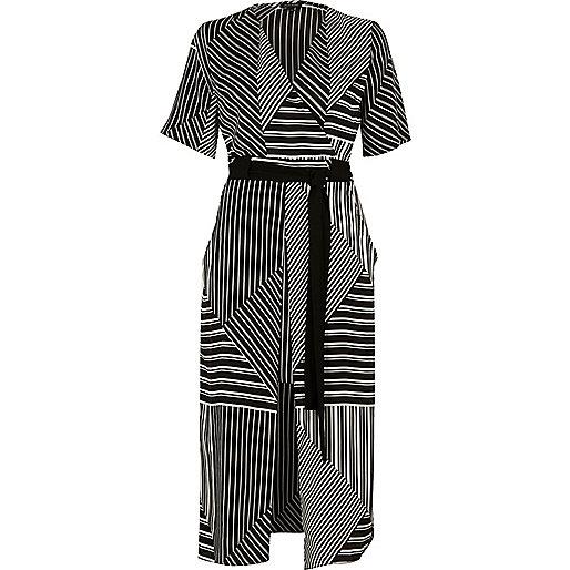 Black striped tie waist midi dress