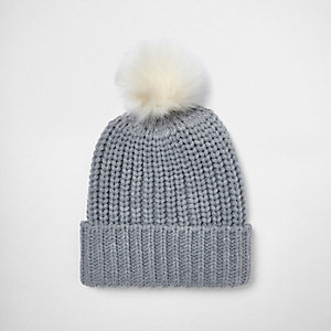 Grey knit bobble hat