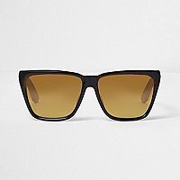 Black angular yellow lens sunglasses