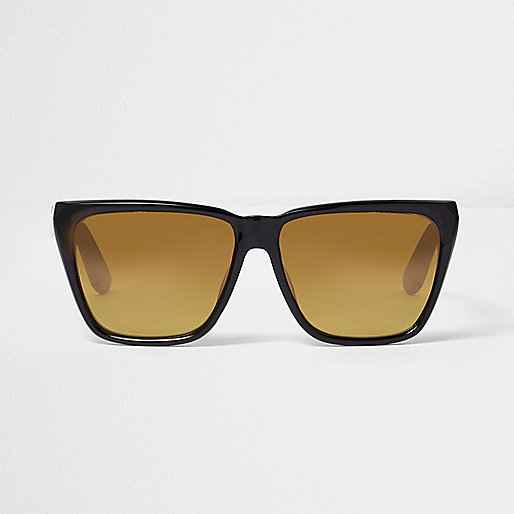 Black angular yellow lens sunglasses