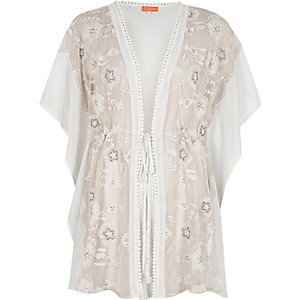 White floral embroidered kaftan