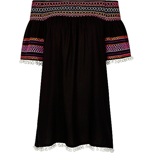 Black shirred pom pom bardot dress