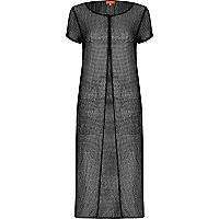 Black mesh split front maxi T-shirt dress