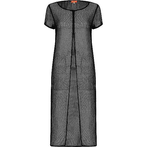 Black mesh split front maxi T-shirt dress
