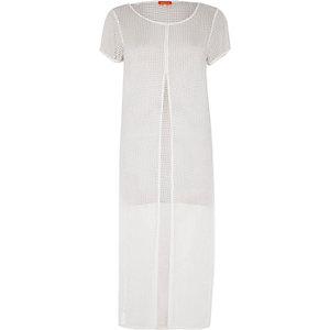 T-shirt de plage long en tulle blanc fendu sur le devant