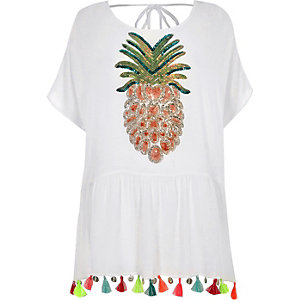 White sequin pineapple tassel beach cover up