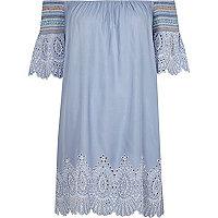 Blue cutwork bardot beach dress