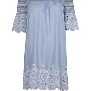Blue cutwork bardot beach dress