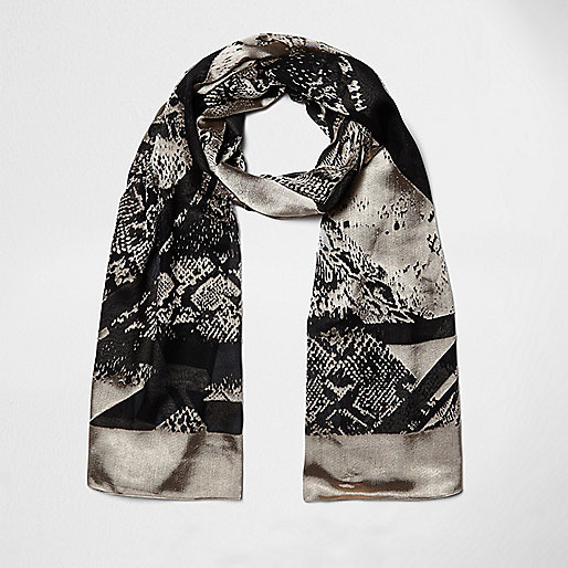 Black spliced animal print scarf