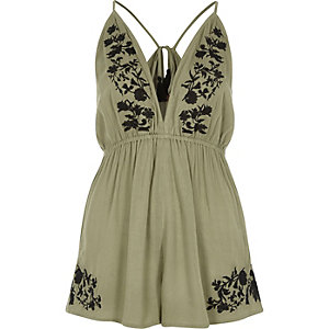 Khaki green floral embroidered romper