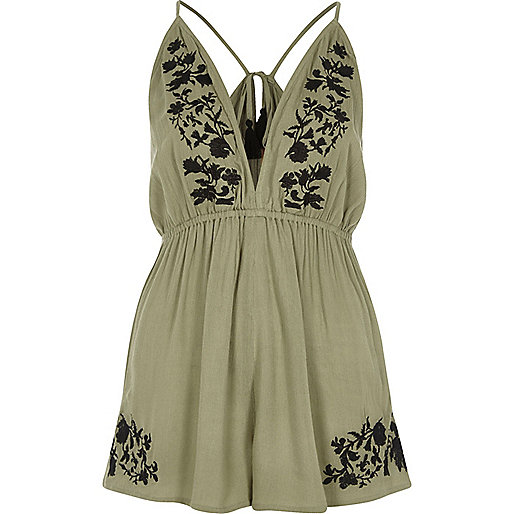Khaki green floral embroidered playsuit