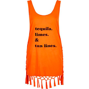Orange 'tequila' print tassel knot back tank