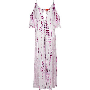 Purple tie dye cold shoulder maxi kaftan