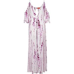 Caftan long violet effet tie-dye à épaules dénudées