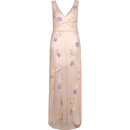 Light pink sheer embroidered maxi beach dress