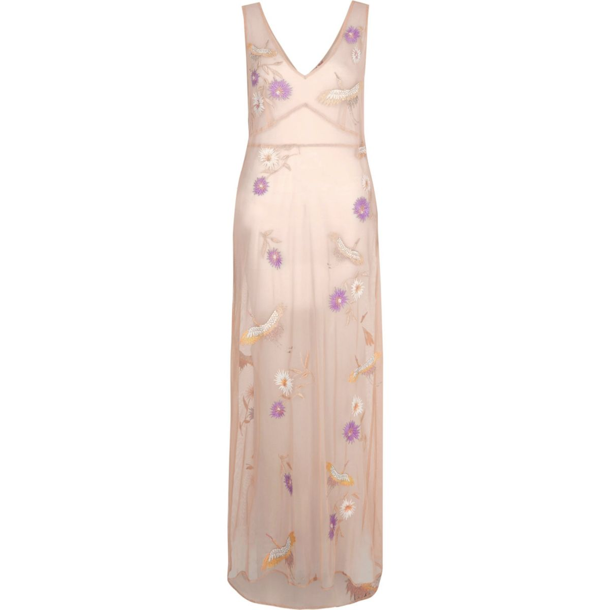 Light pink sheer embroidered maxi beach dress
