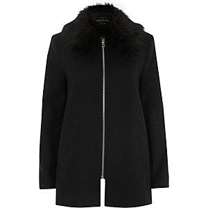 Navy faux fur collar swing coat