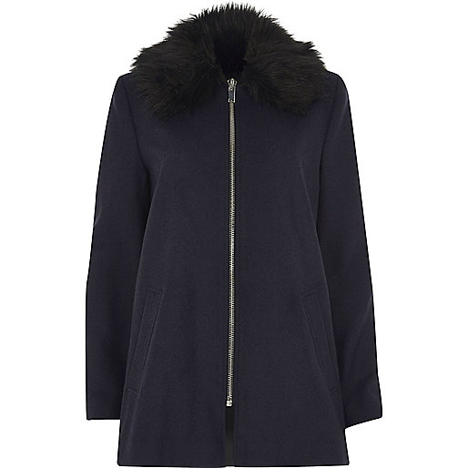Navy blue faux fur collar swing coat