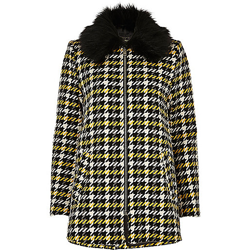Yellow check faux fur collar swing coat