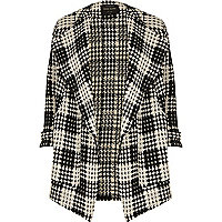 Black and white check fallaway jacket
