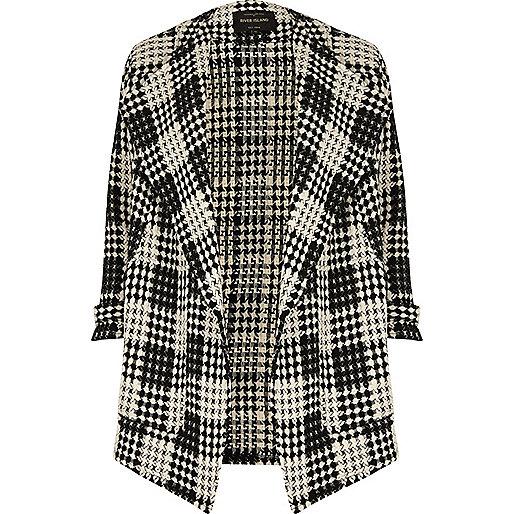 Black and white check fallaway jacket