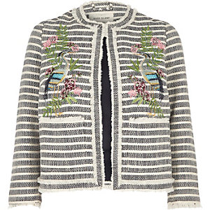 Navy fringed stripe embroidered jacket
