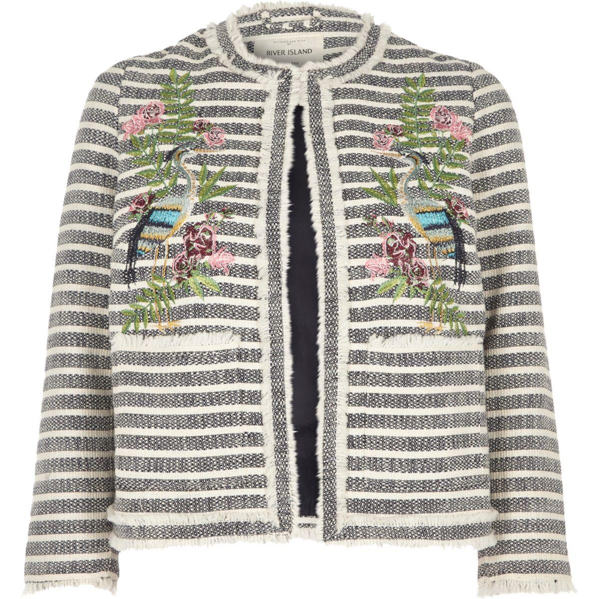 Navy fringed stripe embroidered jacket