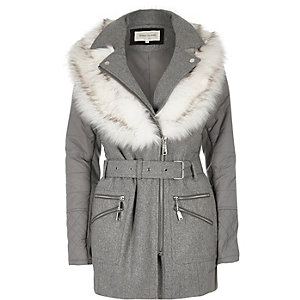 Grey faux fur collar puffer back jacket