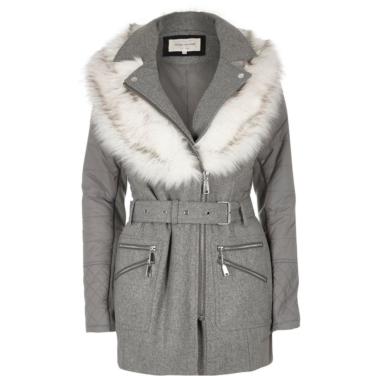 Grey faux fur collar puffer back jacket