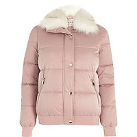 Pink faux fur trim puffer jacket