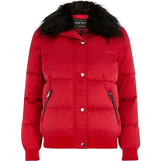 Red faux fur trim puffer jacket