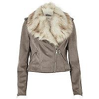 Grey faux fur trim biker jacket