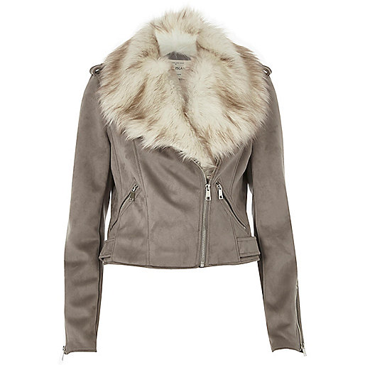 Grey faux fur trim biker jacket