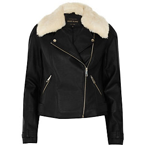 Black faux fur collar biker jacket