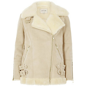 Cream faux suede aviator jacket